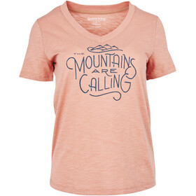 United By Blue Mountains Are Calling V-hals T-shirt met Print Dames, dusty rose